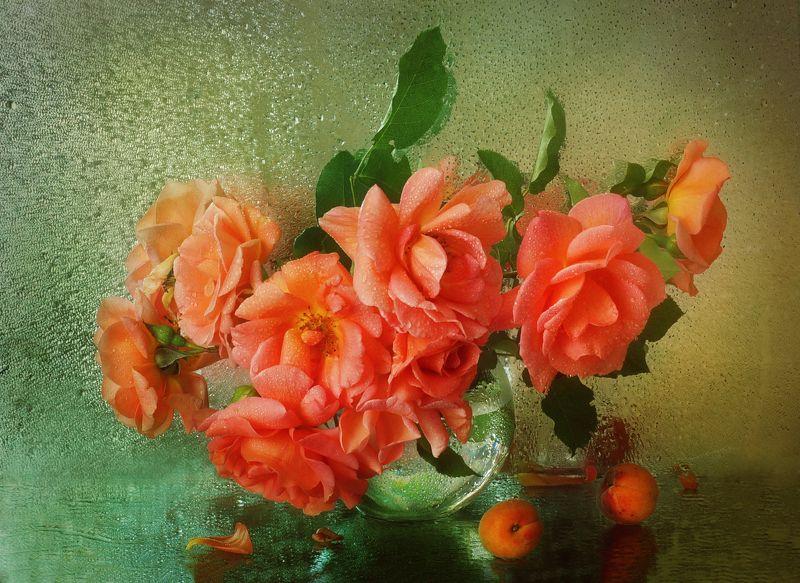 роза, букет, ваза, цветы Персиковый цветphoto preview
