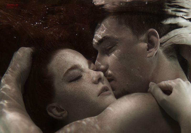подводой, девушка, рыжая девушка, любовь, подводный фотограф, чувства, подводное фото Чувстваphoto preview