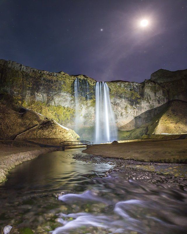 iceland, waterfall, seljalandsfoss Midnight sun over Seljalandsfoss. Iceland.photo preview