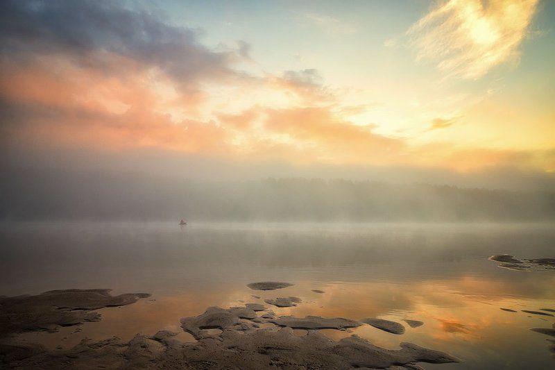 река, закат, солнце, отражение, облака, вечер, туман Эпизод 5 С лучистой зарей...photo preview
