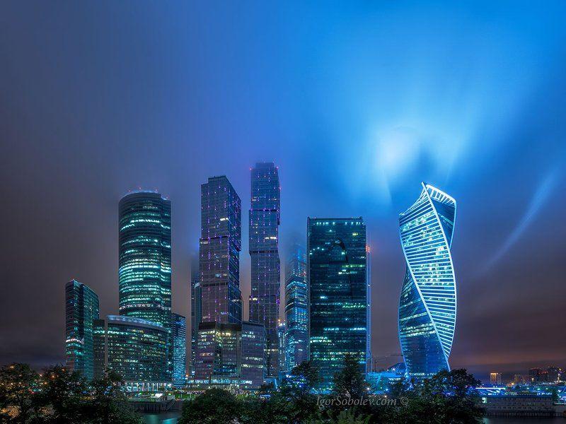 москва-сити, облака, непогода, москва, вечер, сияние, Московское сияниеphoto preview