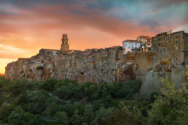 италия, тоскана, закат, природа, путешествие, ландшафт Закат над Питильяноphoto preview