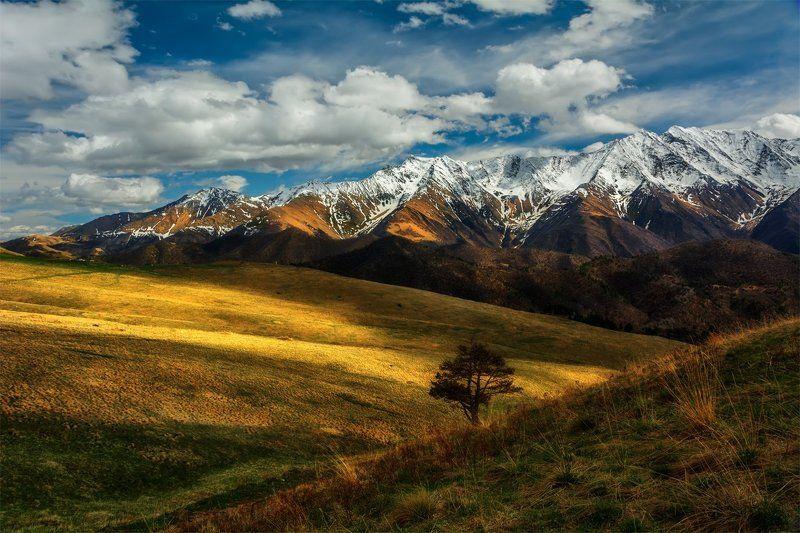 кавказ, природа, пейзаж, горы, весна, река, небо, облака, свет, тень, вершины *photo preview