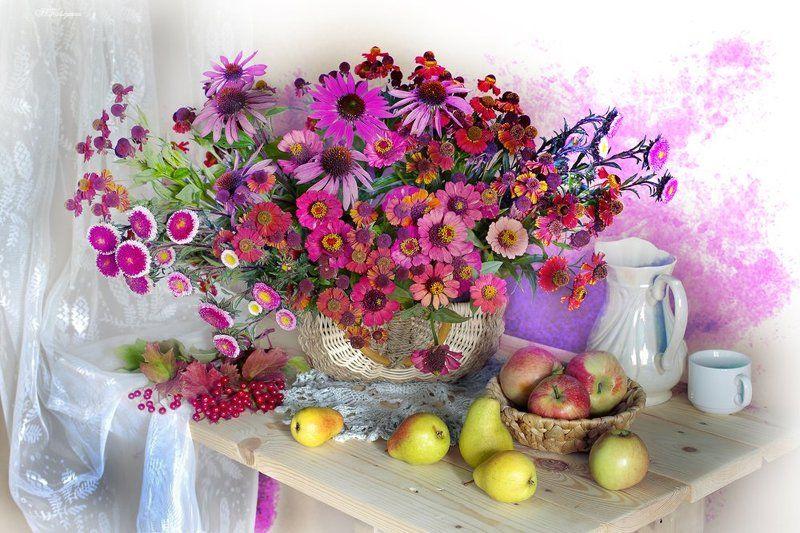 осень,цветы,фрукты,вера павлухина,натюрморт, Осени краскиphoto preview