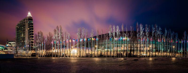 city, cityscape, art, night, nightscape, color, lights, sky, clouds, cloudscape, building, architecture, flags, longexposure Parque das Naçõesphoto preview