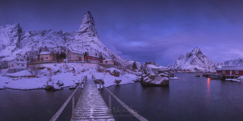 arctic coast; europe; fjord; landscape; light; lofoten archipelago; mountain; nature; nordic; nordland; north; norway; norwegian; ocean; outdoors; peaks; picturesque; rorbu; rorbuer; scandinavia; scenery; scenic; sea; sky; snowscape; water; weather; winte Зимнее утро в рыбацкой деревнеphoto preview