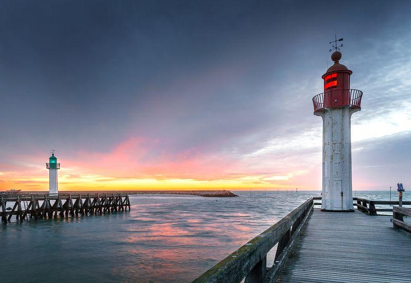 маяк, пирс, закат, небо, свет, цвет, трувиль, франция, океан, *1+1*photo preview