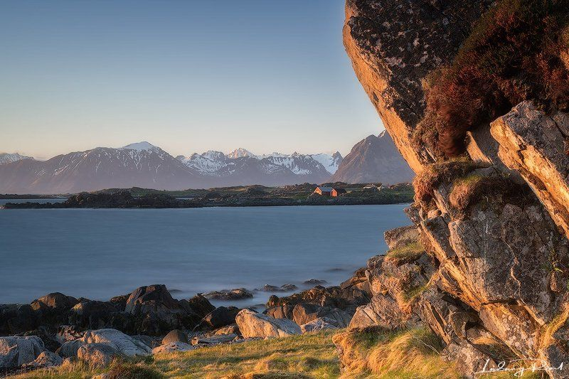 arctic, barn, beach, blue, cliff, dawn, envening, fjord, grass, hey shed, house, hov, lofoten islands, long exposure, mountains, nature, no people, nordic light, nordland, norway, ocean, outdoors, rock, scandinavia, sea, shore, sky, snow, sun, sun set, wa Mountain Viewphoto preview