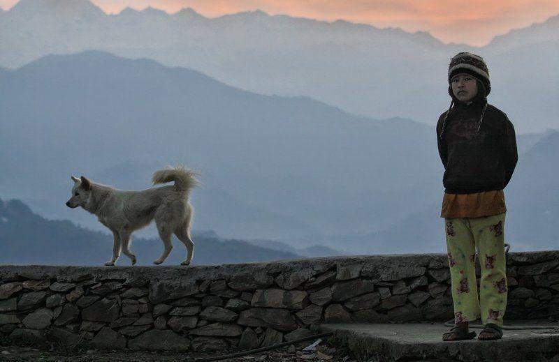 непал, гималаи, мальчик, раннее утро, утро, рассвет,  собака, мальчуган, пижама, горы Патрулируя рассвет в Гималаях :)photo preview