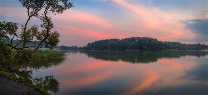 рассвет, озеро, панорама, Отражение рассветаphoto preview