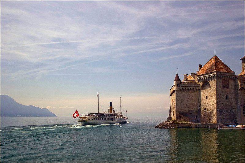 озеро, замок, пароходик,  швейцария лето Женевское озеро, Шильонский замокphoto preview