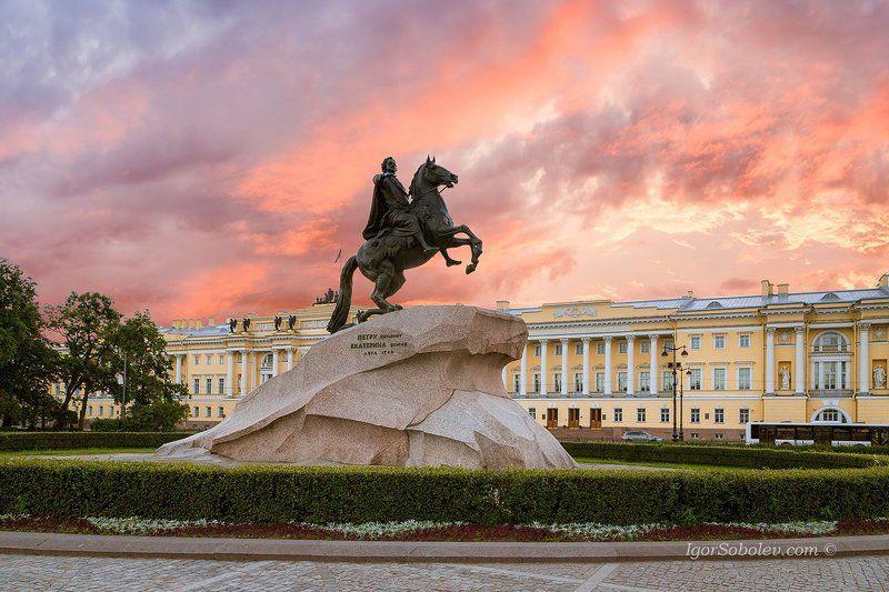 медный всадник, памятник, санкт-петербург, россия, вечер, закат Медный всадник.photo preview