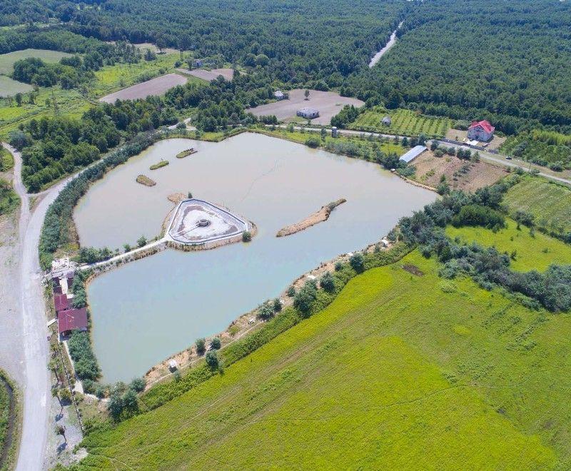 Кавказ, Абхазия, пруд, рыбалка, остров, дрон, аэро, air, aerial Пруд для разведения карповphoto preview