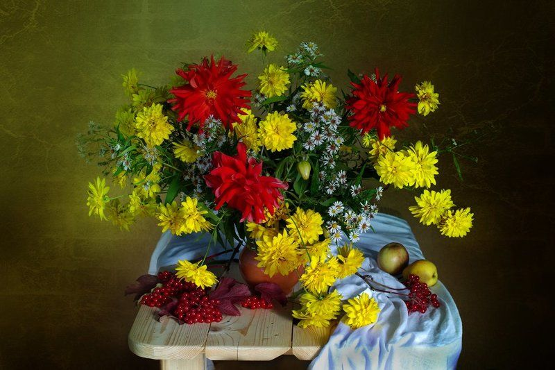 цветы,осень ,натюрморт,золотые шары ,георгины, в.павлухина, Осенняя палитраphoto preview