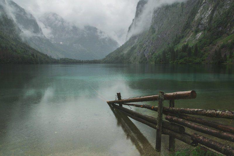 озеро; горы; туман; дождь; туризм Хмурый полденьphoto preview