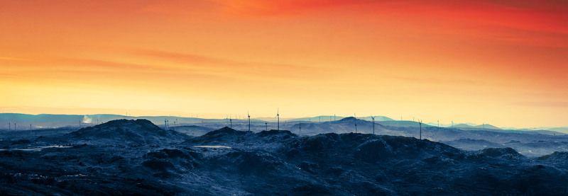 Guarda, Portugal, panorama, morning, day, landscape, rising sun, cloudscape, fog, mountains, color, wind, turbine Horizonphoto preview