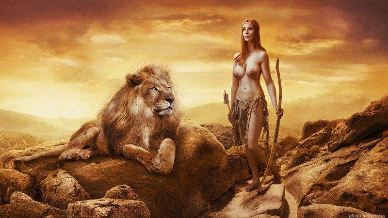 девушка, обнажённая, нарниия,лев,женщина-воин,фэнтези Хроники Нарнииphoto preview