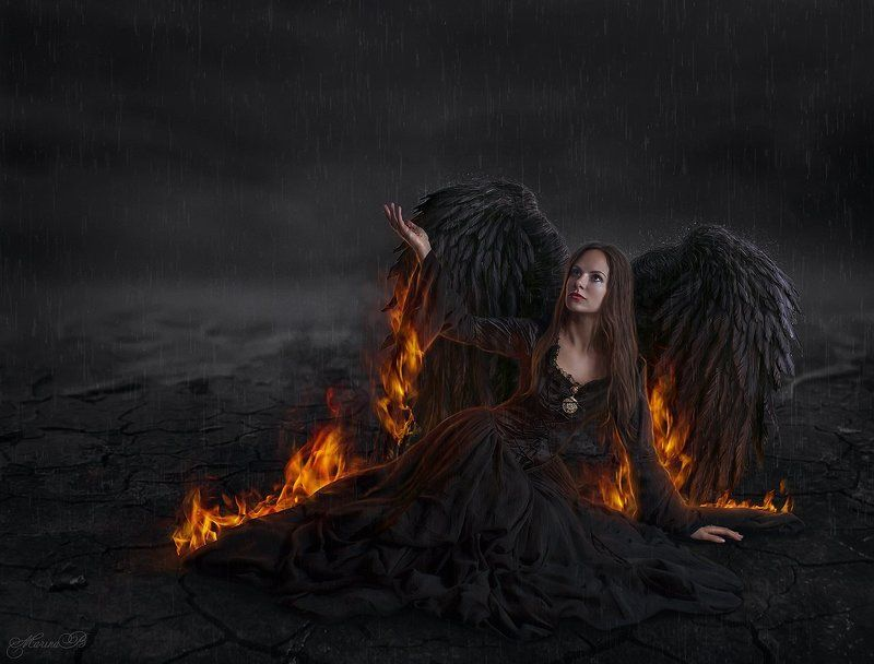 art, dark, angel, fallen angel, огонь, ангел, падший ангел, ночь, темнота Fallen Angel / Dark Artphoto preview