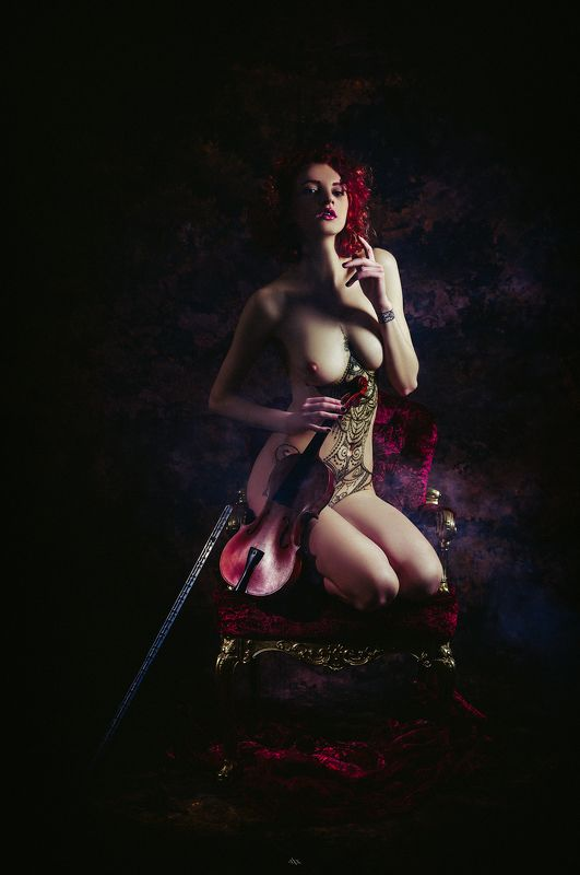 woman, portrait, nude, violin, beauty, redhead The Violinistphoto preview