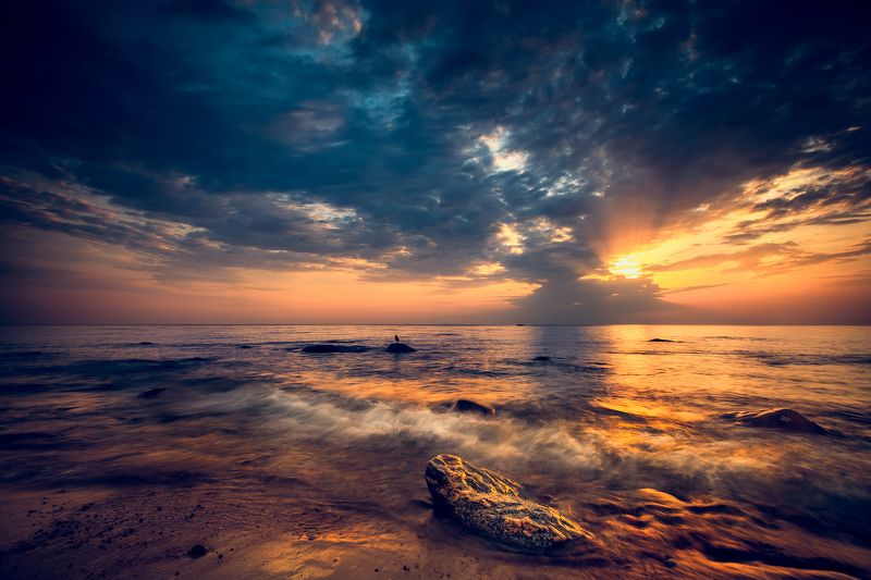 baltic sea, sunset, colors, seascape, wave The waves of goldphoto preview