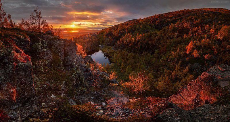пейзаж,россия,закат,небо,хибины,панорама,цвет,свет,осень,вода,отражение,север,кольский Золото Хибинphoto preview