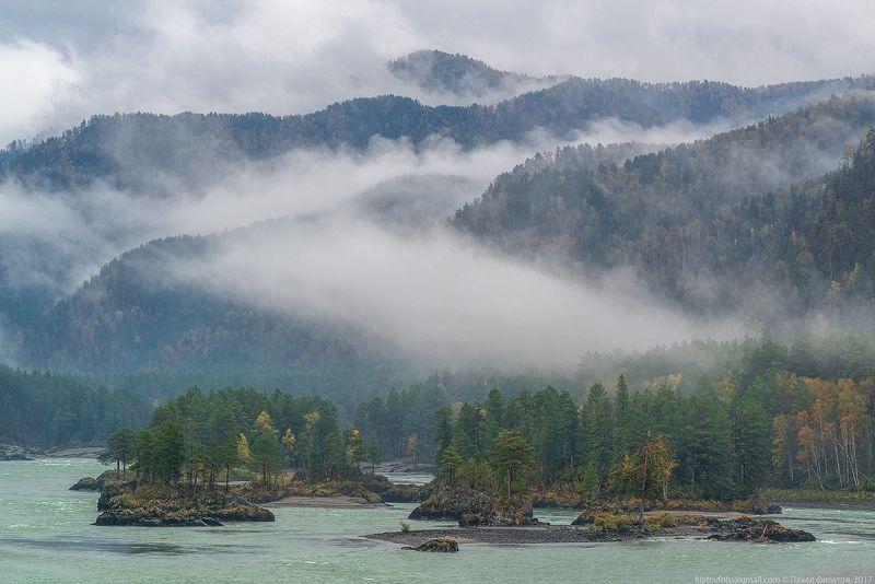 алтай, сибирь, siberia, осень, катунь, altai, река, туман Кадынphoto preview