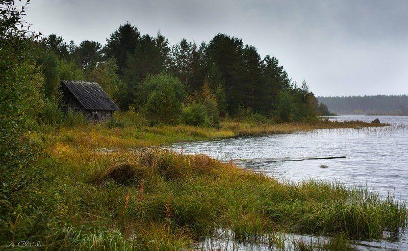 карелия, осень, банька, озеро, хмурое небо Карельские мотивыphoto preview