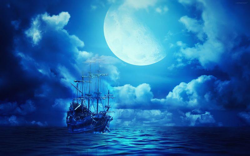 корабль, призрак, небо, океан Летучий голландецphoto preview