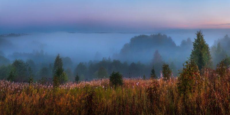фототур, осень,  ленинградская область, лес, вепсский лес, рассвет, туман, луг, заря, долина, река оять, парк, заказник Туманная река, или на холмах вепсского лесаphoto preview