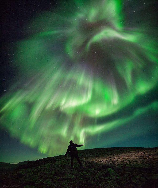 пейзаж,хибины,человек,россия,свет,сияне,aurora,landscape,панорама,селфи,ночь,звезды,цвет Ночное селфиphoto preview
