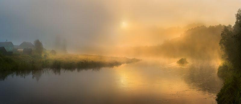 фототур, осень,  ленинградская область, лес, вепсский лес, рассвет, туман, луг, рассвет, долина, река оять, парк, заказник, туман, солнце, деревня, ярославичи, дом. Золотая река Оятьphoto preview