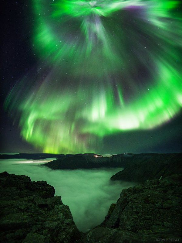 пейзаж,сияние,хибины,ночь,aurora,туман,горы,рудник,звезды,север,кольский Небесный ангелphoto preview