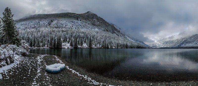 природа, пейзаж, алтай, горы, осень, мульта, озеро, панорама, снег, лодка, сибирь, ***photo preview