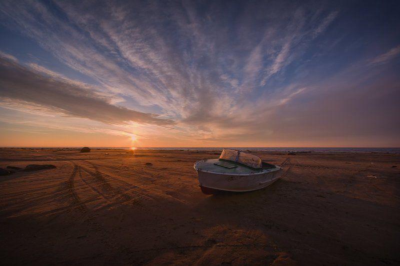 пейзаж, пейзажная съемка, пейзажная фотография, октябрь, рыбинское море, рыбинское водохранилище, закат, лодка, песок Песчаный берег...photo preview