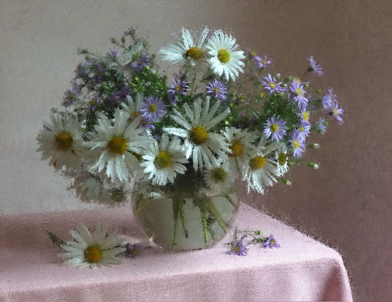ромашки стеклянная ваза натюрморт photo preview