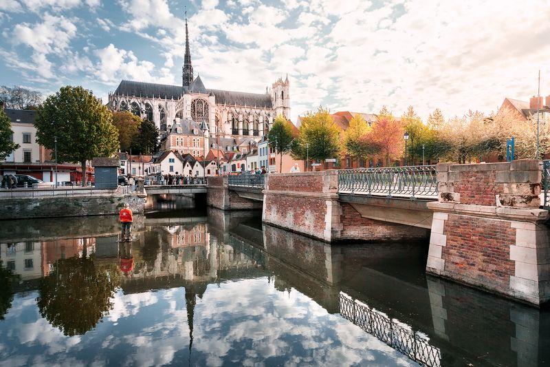 амьен, франция, вода ,свет, отражения, статуя на воде, *Прогулки по воде*photo preview
