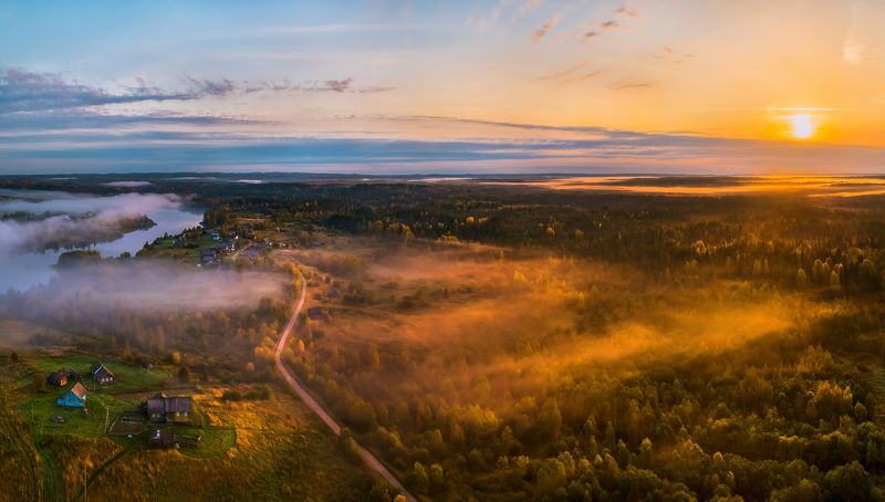 осень,  ленинградская область, лес, вепсский лес, рассвет, туман, луг, парк, заказник, солнце, тайга, ели, заповедная россия, деревня, озеро ладвинское, вепсы, дома, дорога, история. Вот он, какой Вепсский край!photo preview