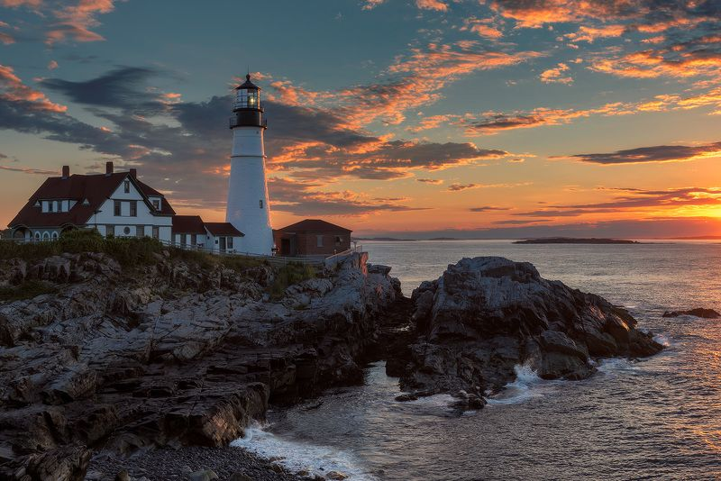 lighthouse,  maine, portland, head, usa,  cape, elizabeth, sunrise, sunset, coastline, color, landscape, sea, water, rocks, photography, monument, ocean, atlantic, new, england, coast, east, light, coastal, house, seascape, маяк, рассвет, море, Lighthousephoto preview