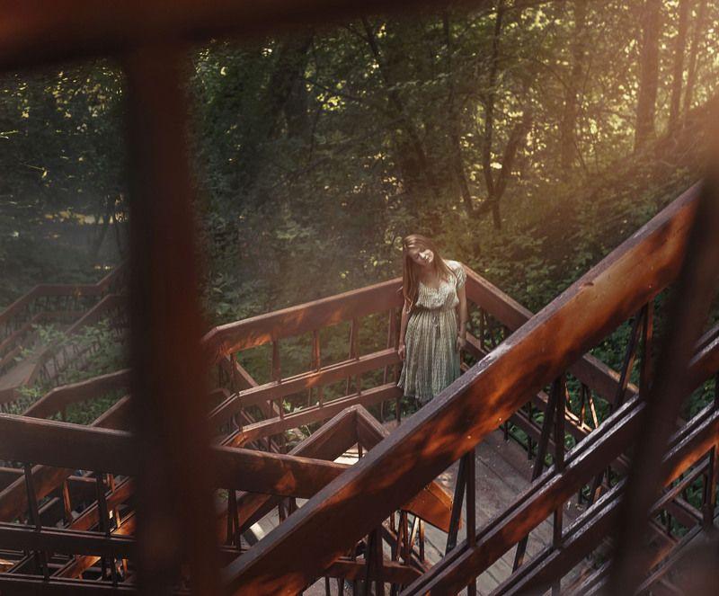 природа,пейзаж,девушка,туман,солнце alonephoto preview
