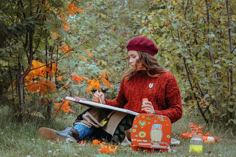 Художник что рисует осень photo preview