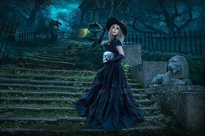 фэнтази, тёмный, усадьба, девушка, рехов, СергейРехов, rekhov, sergejrekhov Тёмная романтикаphoto preview
