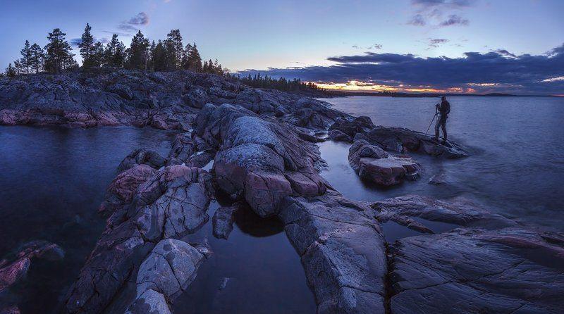ладожские шхеры, ладожское озеро, ладога, карелия, природа карелии, фототур по ладоге, белые ночи, ночь, ночной пейзаж \