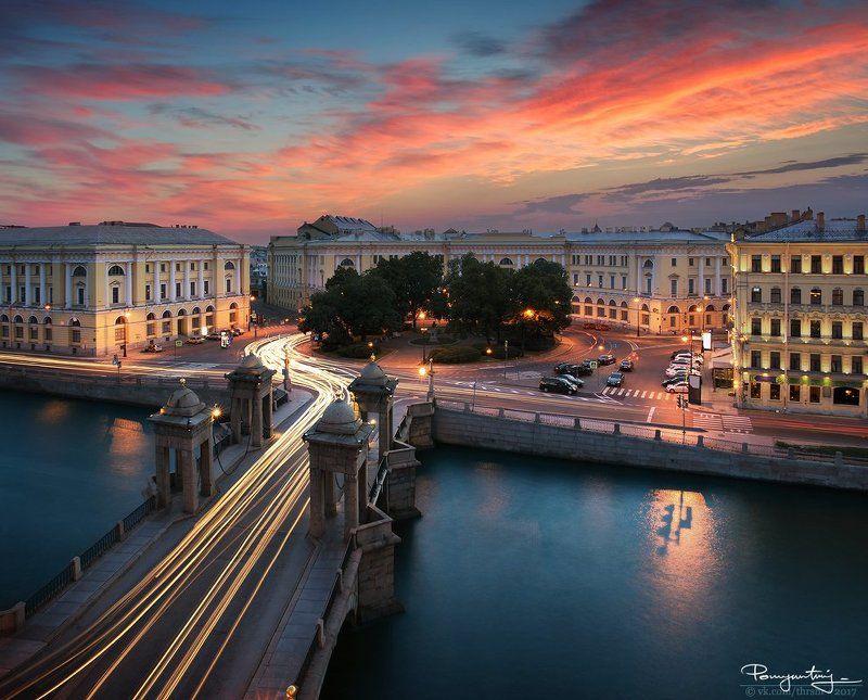санкт-петербург, питер, спб, закат, мост, площадь, ломоносова, река, фонтанка площадь Ломоносоваphoto preview