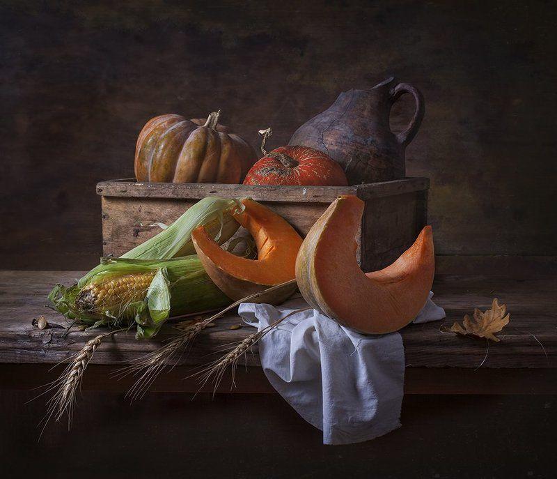 натюрморт,still life, тыква, кукуруза Натюрморт с тыквами и кукурузойphoto preview