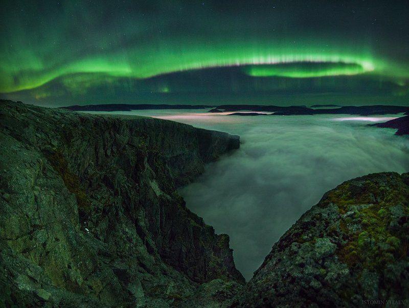 пейзаж,россия,хибины,сияние,туман,звезды,панорама,осень,горы над облакамиphoto preview