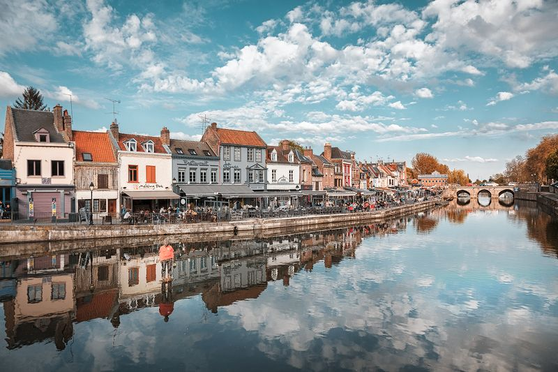 амьен, город, франция, канал, кафе, мост, облака, небо, статуя *Воздух*photo preview