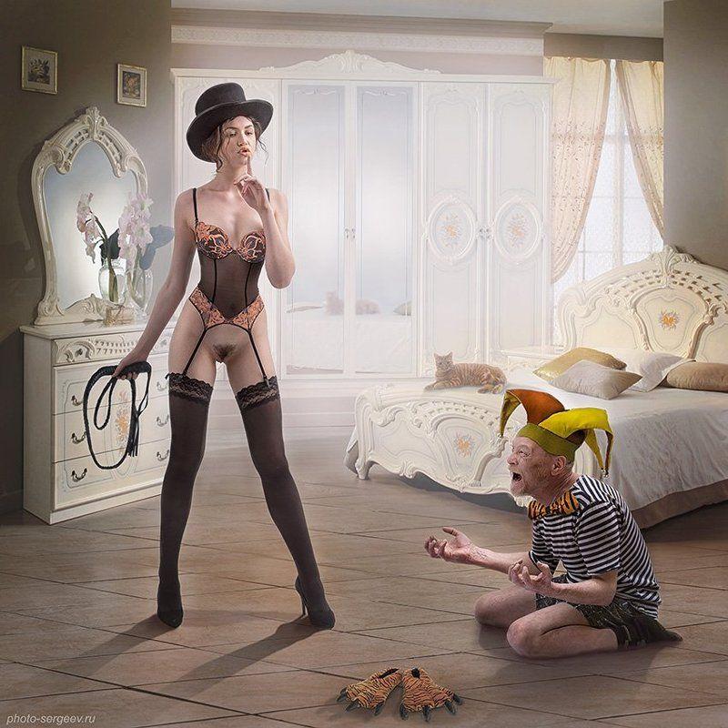 арт,фото-арт,ню-арт,девушка,обнажённая,юмор,ирония,мезальянс,жизненное Сircus girlphoto preview