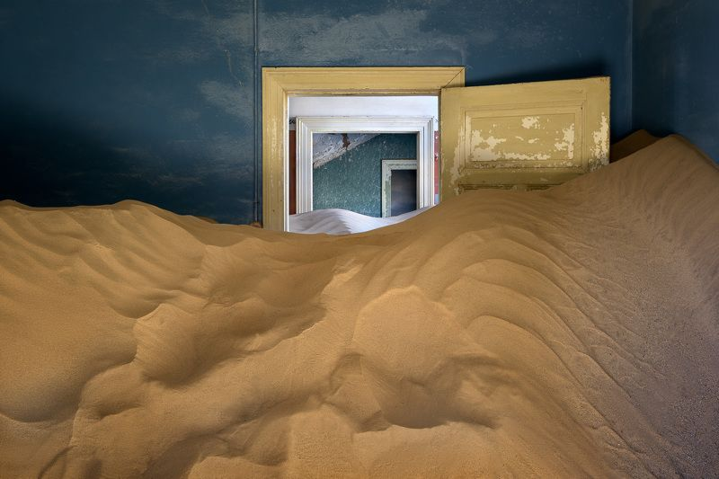 abandoned, Africa, african, architecture, barren, blue, building, city, climate, color, colour, decayed, demolition, desert, diamond, door, doorway, drought, dry, dune, empty, environment, german, ghost, green, haunted, historical, history, home, house, i Ghost Town of Kolmanskop in Namibiaphoto preview