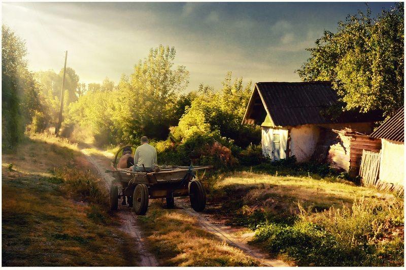 утро, село, телега Утро колхозникаphoto preview