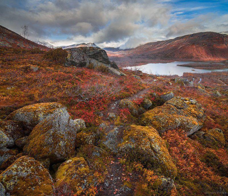 пейзаж,хибины,россия,осень,кольский,север,дорога,свет,перспектива,небо Перевал географовphoto preview